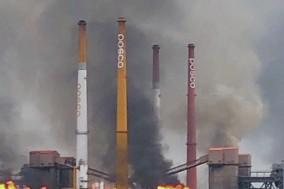 광양제철소 공장 정전으로 검은연기 배출